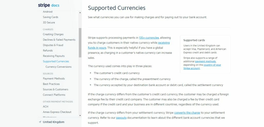 Stripe Supported Currencies